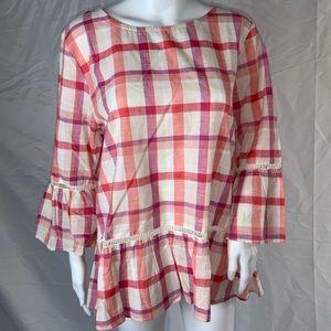 Bobeau size XL window pane plaid blouse